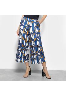 Calça Pantacourt Estampada Morena Rosa Feminina - Feminino-Azul