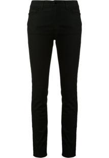 Emporio Armani Calça Jeans Skinny Com Logo E Listra Lateral - Preto