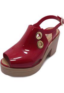 Sandália Boot Sola Alta Miss Miss Vermelho