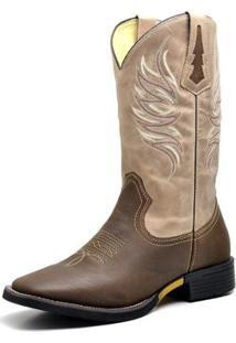 Bota Couro Country Texana Top Franca Shoes Masculino - Masculino-Marrom+Bege