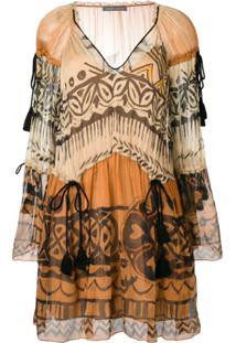 Alberta Ferretti Vestido Estampado - Marrom