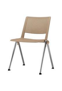 Cadeira Up Assento Bege Base Fixa Cromada - 54318 Bege