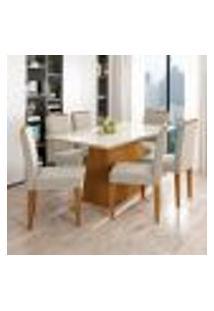 Conjunto De Mesa De Jantar Com Tampo De Vidro Bárbara E 6 Cadeiras Ana Ii Animalle Off White E Creme