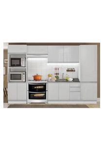 Cozinha Completa Madesa 100% Mdf Acordes 2 Gavetas 11 Portas Branco Brilho (Sem Tampo E Pia) Branco