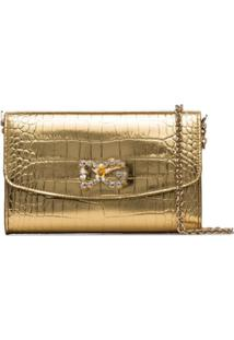 Dolce & Gabbana Bolsa Clutch Com Efeito De Pele De Crocodilo - Dourado