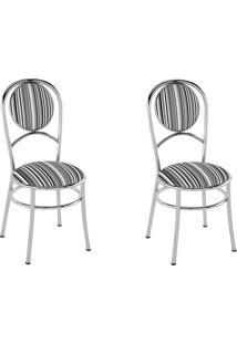 Kit 2 Cadeiras Pc03 Assento Listrado Preto - Pozza