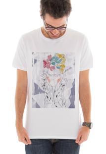 Camiseta Manga Curta Touts Garota Aquarela Branco