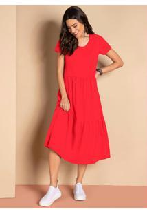 Vestido Midi Vermelho Com Babados Mangas Curtas