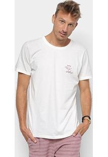 Camiseta Redley Tinturada Silk Perigo Tubarão Masculina - Masculino-Off White