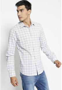 Camisa Super Slim Xadrez- Branca & Preta- Forumforum