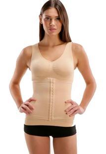 Cinta Camiseta Modeladora Redutora Slim Comfy Bege - Branco - Feminino - Dafiti