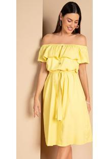 Vestido Ciganinha Amarelo Com Botões Decorativos