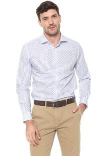 Camisa Dudalina Slim Estampada Branca/Azul