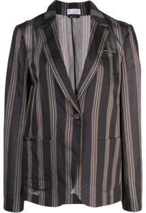 Brunello Cucinelli Blazer Com Listra Vertical - Marrom