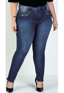 Calça Jeans Cigarrete Pedrarias Sawary Plus Size
