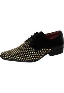 Sapato Social Gofer Premium Preto/Dourado