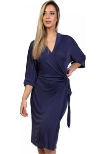Robe Midi Mardelle Em Microfibra Marinho - Azul Marinho - Feminino - Dafiti