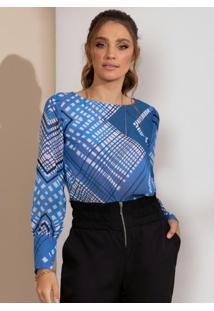 Blusa Geométrico Azul Com Mangas Bufantes