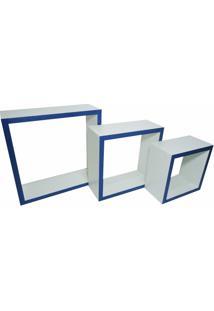 Nicho Cubo Prateleira Em Mdf Branco C/ Bordas Azul, Kit C/3 - 10Cm De Profundidade