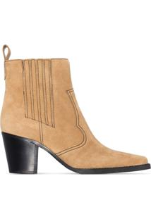 Ganni Ankle Boot Western Com Salto 70Mm - Marrom