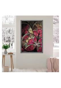 Quadro Love Decor Com Moldura Vitral Rosa Grafitti Metalizado Grande