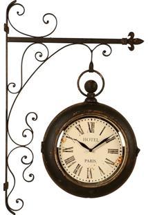 Relógio De Parede Decorativo Estação Paris De Metal Envelhecido