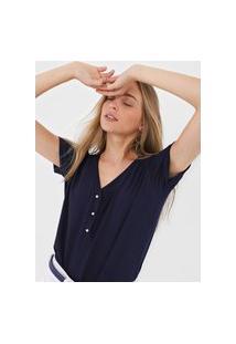 Blusa Lunender Botões Azul-Marinho