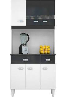 Armário P/ Cozinha 6 Portas 2 Gavetas - Poquema Kit Manu 6P - Branco/Preto