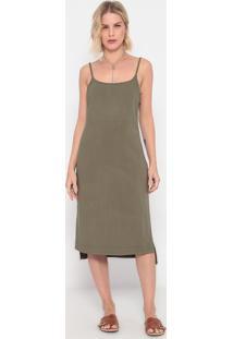 Vestido Mídi Com Linho - Verde Militar - La Conchala Concha