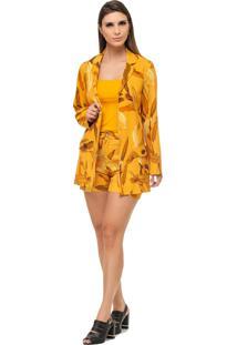 Blazer Pele Macia Estampado Amarelo - Tricae