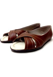 Sapatilha Buffone Comfort Aberta Detalhe Costura Caramelo