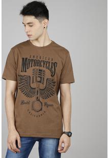 "Camiseta Masculina ""American Motorcycles"" Manga Curta Gola Careca Marrom"