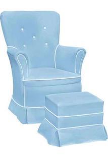 Poltrona Amamentação Sofia Com Balanço E Puff Azul E Branca - Confortável