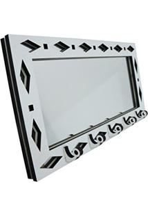 Porta Chaves Branco Espelhado Geométrico