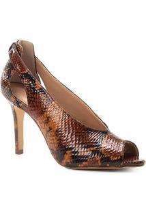 3d8d1cc53e Peep Toe Couro Shoestock Snake Salto Fino - Feminino-Caramelo