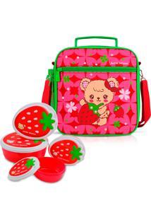 Kit Lancheira Necessaire Térmica Infantil Escolar + 4 Potinho Alimentos Vermelha