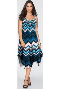 Vestido Com Barra Assimétrica Azul/Preto