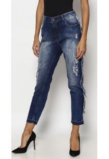 Jeans Boyfriend Estonado Desfiado - Azul- Tuaregtuareg