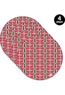 Sousplat Mdecore Natal Pinheiros 32X32Cm Vermelho 4Pçs
