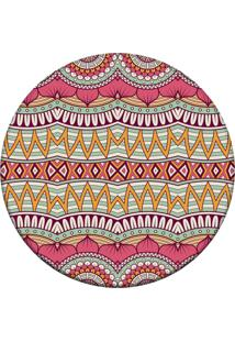 Tapete Love Decor Redondo Wevans Mandala Abstrato Rosa 94Cm