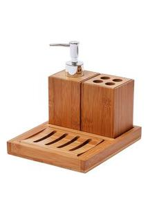 Jogo Para Banheiro Bambus 4 Peças
