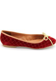 Sapatilha Royalz Veludo Laço - Feminino-Vermelho