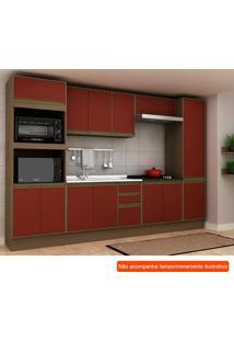 Cozinha Compacta Safira 13 Pt 3 Gv Vermelha E Avelã
