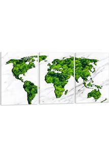 Quadro Oppen House Mapa Mundi Verde Árvores 60X120Cm Decoração Escritórios Salas Empresas