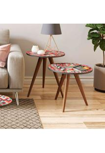 Mesa De Canto 500 Retrô – Be Mobiliário - Espresso / Estampa Vermelha