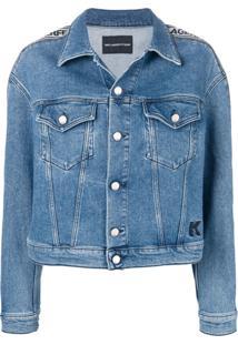 Karl Lagerfeld Jaqueta Jeans Com Logo - Azul