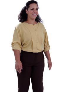 Camisa Géorgia Aba Plus Size Vickttoria Vick Plus Size Amarelo