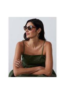 Amaro Feminino Óculos De Sol Gatinho Angular Oval Acetato Reciclado, Tartaruga