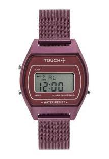 Relógio Touch Unissex Fogo Roxo