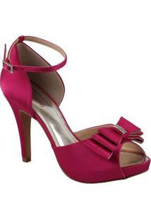 Sandália Com Laço E Strass Spaço Criativo Exclusiva - Feminino-Pink